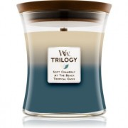 Woodwick Trilogy Beachfront Cottage lumânare parfumată cu fitil din lemn 275 g