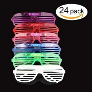 originalidad led Glasses & Kids Party Favors - 24 neon Glow in The Dark Parties Supplies for Goody Bags and Teen Birthdays -3 led Sunglasses Settings Glow in The Dark Party Supplies Bulk Novelty Pack