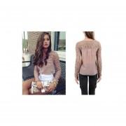 Mujer Camisa Blusa con encaje Fashion-cool-Rosada