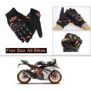 AutoStark Gloves KTM Bike Riding Gloves Orange and Black Riding Gloves Free Size For KTM RC 390