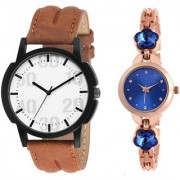 MACRON W-205 Couple Watch Combo Watch Brown Belt Silver Dial with Blue dial Golden watch 205