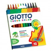 Giotto Felt Tip Pens - 12 Giotto extra-strong felt tip medium tip pens. Ideal for all artwork. Water-based, washable ink. 12 assorted colours.