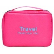 bhavani traders Travel Cosmetic Bag- Travel Your Life Toiletry Travel Zipper Hanging Bag, Travel Cosmetic Organizer Toiletry Bag with Hook, Portable Multifunction Waterproof Storage Bag for Camping, Traveling, Household Travel Toiletry Kit(Pink)