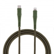 MOMAX MFi Certified Braided Type-C to Lightning Cable PD3.0 Fast Charging Data Cord for iPhone/iPad/iPod - Army Green