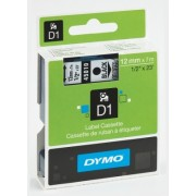 Banda D1 12 mm x 7 m negru-transparent Dymo