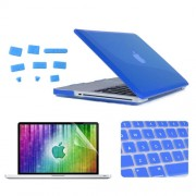 ENKAY 4 in 1 Crystal Hard Shell Plastic Protective Case with Screen Protector & Keyboard Guard & Anti-dust Plugs for MacBook Pro 15.4inch(Dark Blue)