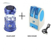 Alpha Mini Cooling Fan Dual Bladeless USB Cooler Fan with with 6 LED Solar Power Camping Rechargable larnten