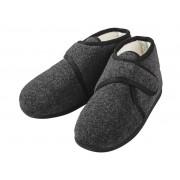 LIVERGY® Heren pantoffels (44, Antraciet, met klittenbandsluiting)