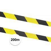 Merkloos 2x Afzetlinten / markeringslinten geel met zwart 100 meter