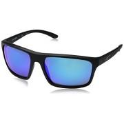 ARNETTE An4229 Sandbank anteojos de sol rectangulares para hombre, negro, azul (Matte Black/Blue Mirror), 61 mm