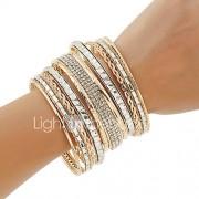 Dames Bangles Cuff armbanden ID Armbanden Bergkristal Punk-stijl Meerlaags Kostuum juwelen Modieus Bohemia Style Metaallegering Cirkelvorm