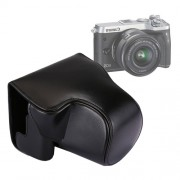 Full Body Camera PU Leather Case Bag with Strap for Canon EOS M6 (Black)