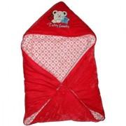 Furn@Home Teddy Family Hooded Shearing Velvet Red Baby Blanket
