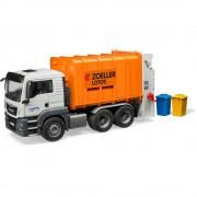 Bruder man tgs camion trasporto rifiuti carrello posteriore arancione