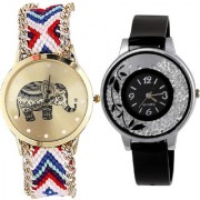 Neutron Treading Exclusive Elephant And Flower Analogue Multi Color And Black Color Girls And Women Watch - G159-G86 (Combo Of 2 )
