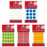 Etichete autoadezive color, 12/coala, diametru 32mm, albastru, 10 coli/blister, TANEX