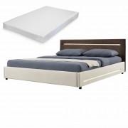 [my.bed] Elegantná manželská posteľ s LED osvetlením - matrac zo studenej HR peny - 180x200cm (Záhlavie: alcantara koženka hnedá / Rám: textil krémová) - s roštom