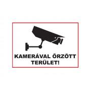 DE Üveg matrica 3 A5 - KAMERÁVAL ŐRZÖTT TERÜLET!