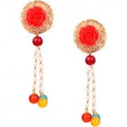 Om Jewells Rose Gold Plated Red Rose Crystal Jewellery meshwork Drop Earrings for girls and women ER1000066