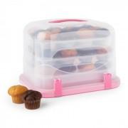 Klarstein Pinkkäppchen XL, rózsaszín, süteményes doboz, muffin tartó, 36 db, 34,5 x 25 x 25,5 cm (BAK2-Pinkkäppchen-XL)