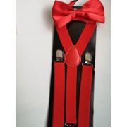 Комплект тиранти и папийонка за сватба и бал в цвят червено