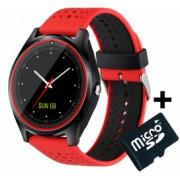 Ceas Smartwatch cu Telefon iUni V9 Plus Touchscreen 1.3 Inch HD Camera 2MP iOS si Android Rosu + Card MicroSD 4GB Bonus Bratara Roca Vulcanica unisex