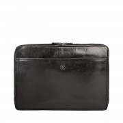 Leder Laptophülle 17'' in Schwarz - Laptophülle, Laptopetui, Laptopschutzhülle, Laptopcover