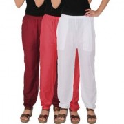 Culture the Dignity Women's Rayon Solid Casual Pants Office Trousers With Side Pockets Combo of 3 - Maroon - Pink - White - C_RPT_MPW - Pack of 3 - Free Size