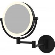 Cosmeticaspiegel 20x20cm Geintegreerde LED Verlichting Kantelbaar 3x Vergrotend Mat Zwart