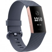 Bratara fitness Fitbit Charge 3, HR, IP67, NFC, Rose Gold Aluminum, Curea Silicon Blue Gray