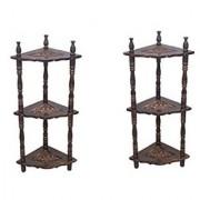 Desi Karigar Mini Wooden Corner Rack Side Table Home Decor Carved End Table Furniture Shelves - Pack Of 2