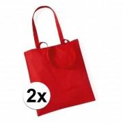 Merkloos 2x Voordelig rode katoenen draagtasje 10 liter