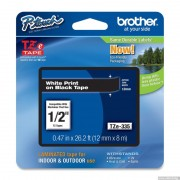 BROTHER TZ Tape, 12mm White on Black, Laminated, 8m lenght, for P-Touch (TZE335)