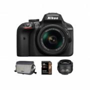 Nikon D3400 Kit AF-P 18-55mm VR Fatbox, Negru