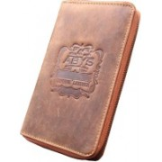 ABYS Durga Puja Special -Genuine Leather Passport Holder||Credit Card Holder||Travel Wallet with Metallic Zip Closure(Tan)
