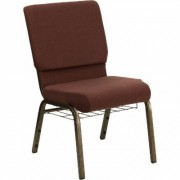 Flash Furniture Fabric Church Chair with Cup/Book Rack - Brown w/Gold Vein Frame, 19 1/4Inch W x 25Inch D x 33 1/4Inch H, Model FCH185GV0355B