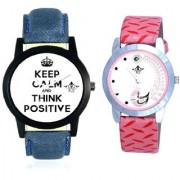 Men Power Of Positive Thinking And Pink Peacock Couple Analogue Watch By Taj Avenue