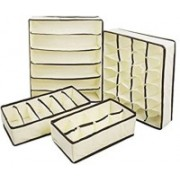 House of kart Set Of 4 Foldable Drawer Dividers, Storage Boxes For Clothing, Shoes, Underwear, Bra, Socks(Beige)