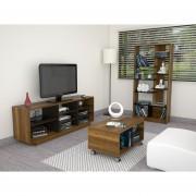 Combo TuHome Rack TV + Biblioteca + Mesa de Centro - Caramelo/Wengue