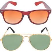Aligatorr Combo Of 2 Wayfarer Aviator Unisex Sunglasses kc bngold gnCRLK