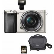 Sony Alpha ILCE-6000L systeemcamera, 16-50 mm zoom, incl. tas, 32 GB SD-kaart - 579.99 - zilver