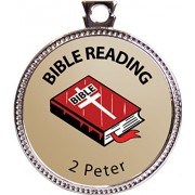 "2 Peter Bible Reading Award, 1 Inch Dia Silver Medal ""Bible Reading Achievements Collection"" By Keepsake Awards"