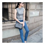 Sexy Small High-collar Tight Sleeveless Knitted Top Vest Tops And Blouse Grey