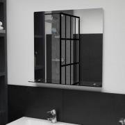 vidaXL Стенно огледало с рафт, 60x60 см, закалено стъкло