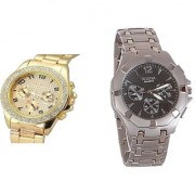 Rosra Round Dial Gold & Silver Metal Strap Quartz Watch for Men (Combo of 2)