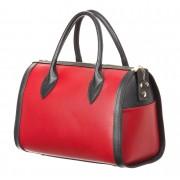 CHIARO SCURO Borsa donna in vera pelle CHIARO SCURO mod. SHARON, colore ROSSO / NERO, Made in Italy.