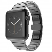 Stainless Steel Watch Band Link Bracelet for Apple Watch Series 4 44mm/3/2/1 42mm - Black