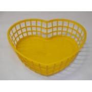 Szív alakú műanyagkosár közepes, sárga (221)