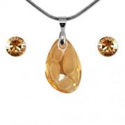 Aura arany színű Swarovski® kristályos ékszerszett - Radiolarian 18 mm, Golden Shadow + díszdoboz