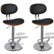 vidaXL 2 бар стола от изкуствена кожа с регулируема височина и облегалка